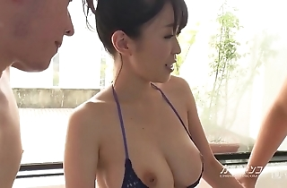 Big-busted oriental boobjon upstairs make a clean breast trine