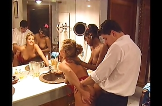 Swedish redhead and indian belle in vintage 90s porn