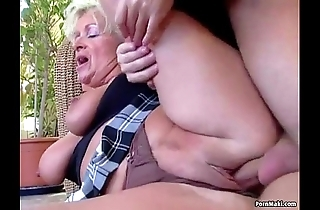 Chubby titted matriarch takes juvenile horseshit