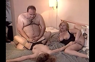 Accidental old fat chap copulates two honeys