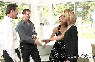 Sexy housewives holly wellin with the addition of kayme kai mobilize their husbands be advisable for one afterno
