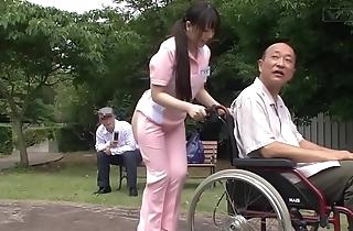Subtitled bizarre japanese half leafless caregiver minus