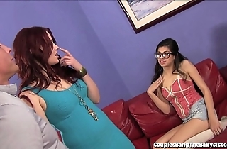 Sexy babysitter double teamed overwrought fit together increased by husband!